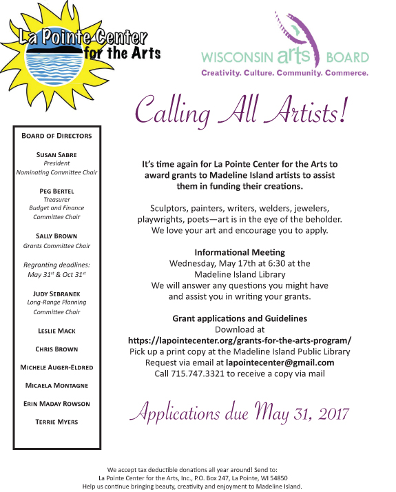 Grant Application Deadline May 31, 2017 – La Pointe Center For The